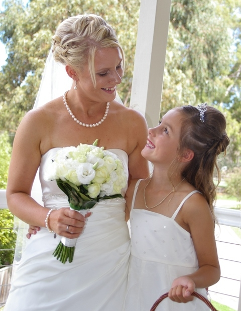 Pre-wedding photography of Bride & Flower Girl