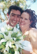 Melanie & Brett:close -up of bride & groom