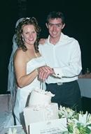 Cutting the Wedding cake with Brett & Melanie