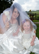Wedding Photo Fun:Bride in waiting with junior Flower  Girl